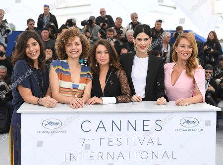 Flora Diegues, Marina Provenzano, Bruna Linzmeyer, Luiza Mariani, Mariana Ximenes. Actresses Flora Diegues, from left, Marina Provenzano, actresses Bruna Linzmeyer, Luiza Mariani and Mariana Ximenes pose for photographers during a photo call for the film 'Le Grand cirque mystique' at the 71st international film festival, Cannes, southern France
