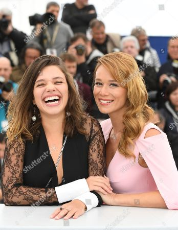Bruna Linzmeyer, Mariana Ximenes. Actresses Bruna Linzmeyer, left, and Mariana Ximenes pose for photographers during a photo call for the film 'Le Grand cirque mystique' at the 71st international film festival, Cannes, southern France