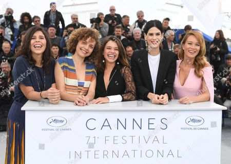 Stock Photo of Flora Diegues, Marina Provenzano, Bruna Linzmeyer, Luiza Mariani, Mariana Ximenes. Actresses Flora Diegues, from left, Marina Provenzano, actresses Bruna Linzmeyer, Luiza Mariani and Mariana Ximenes pose for photographers during a photo call for the film 'Le Grand cirque mystique' at the 71st international film festival, Cannes, southern France