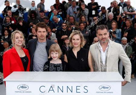 (L-R) French director Andrea Bescond, French actor Pierre Deladonchamps, French actress Karin Viard and French actor Clovis Cornillac pose during the photocall for 'Little Tickles (Les Chatouilles)' at the 71st annual Cannes Film Festival, in Cannes, France, 14 May 2018. The movie is presented in the section Un Certain Regard of the festival which runs from 08 to 19 May.
