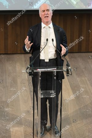 Stock Picture of Charles Saumarez Smith the Chief Executive of the Royal Academy of Arts makes a speech in the new lecture theatre