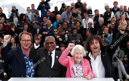 Director Nicolas Champeaux, Andrew Mlangeni, guest and producer William Jehannin poses during the photocall for 'The State Against Mandela' at the 71st annual Cannes Film Festival, in Cannes, France, 14 May 2018. The movie is presented in the section Special Screenings of the festival which runs from 08 to 19 May.