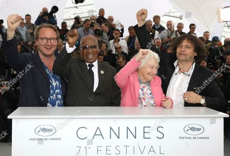 Nicolas Champeaux, Andrew Mlangeni, William Jehannin. Director Nicolas Champeaux, left, political activist Andrew Mlangeni and producer William Jehannin, right pose for photographers during a photo call for the film 'The State Against Mandela and the Others' at the 71st international film festival, Cannes, southern France