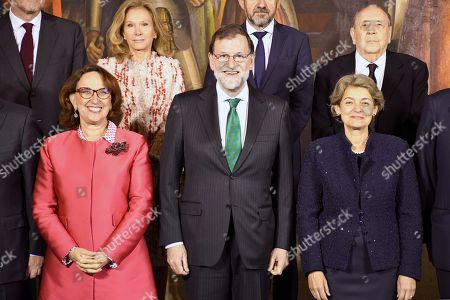 Spanish Prime Minister, Mariano Rajoy (C), poses next to Director-General of UNESCO, Bulgarian Irina Bokova (R), and Ibero-American Secretary General, Rebeca Grynspan (L), during a ceremony held to present Grand Cross of the Order of Alfonso X the Wise decorations, at Real Alcazar in Segovia, Spain, 14 May 2018. The Order of Alfonso X the Wise is a Spanish civil order that recognizes activities in the fields of culture, higher education, science and research.