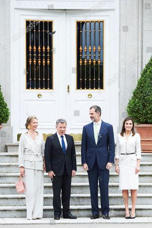 Stock Picture of King Felipe VI of Spain, Queen Letizia, Juan Manuel Santos Calderon, President of Colombia, Maria Clemencia Rodriguez Munera