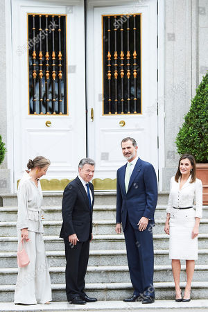 King Felipe VI of Spain, Queen Letizia, Juan Manuel Santos Calderon, President of Colombia, Maria Clemencia Rodriguez Munera