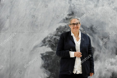 """Tacita Dean, artist, poses with her work """"The Montafon Letter"""", 2017, in the new Gabrielle Jungels-Winkler Galleries at a photocall for the opening of the new Royal Academy of Arts (RA) in Piccadilly."""