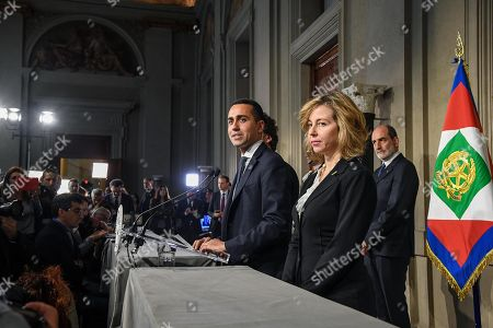 Five-Star Movement (M5S) leader Luigi Di Maio (C), flanked by party colleagues Giulia Grillo (R), addresses the media after a meeting with Italian President Sergio Mattarella at the Quirinale Palace, Italy, Rome, 14 May 2018. (M5S) leader Di Maio said that neither he nor prospective right-wing Lega (League) party ally would put forward names of a Premier yet and asked for a few more days to complete a government programme.