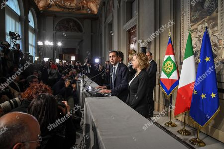 Five-Star Movement (M5S) leader Luigi Di Maio (C) accompanied by his party colleagues Giulia Grillo (R) and Danilo Toninelli, addresses the media after a meeting with Italian President Sergio Mattarella at the Quirinale Palace, Italy, Rome, 14 May 2018. (M5S) leader Di Maio said that neither he nor prospective right-wing Lega (League) party ally would put forward names of a Premier yet and asked for a few more days to complete a government programme.