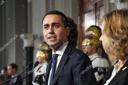 Five-Star Movement (M5S) leader Luigi Di Maio (C), flanked by party colleagues Giulia Grillo (R) and Danilo Toninelli (L), addresses the media after a meeting with Italian President Sergio Mattarella at the Quirinale Palace, Italy, Rome, 14 May 2018. (M5S) leader Di Maio said that neither he nor prospective right-wing Lega (League) party ally would put forward names of a Premier yet and asked for a few more days to complete a government programme.