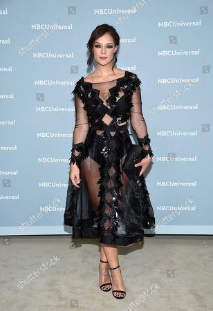 Actress Carolina Miranda attends the 2018 NBCUniversal Upfront at Rockefeller Plaza, in New York