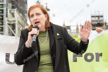 Emma Dent Coad speaks during a demonstration for the victims of the Grenfell Tower fire, opposite the Houses of Parliament in central London