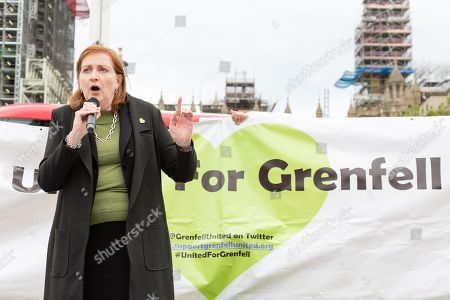 Stock Photo of Emma Dent Coad speaks during a demonstration for the victims of the Grenfell Tower fire, opposite the Houses of Parliament in central London