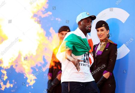 Yaya Toure of Manchester City walks on stage