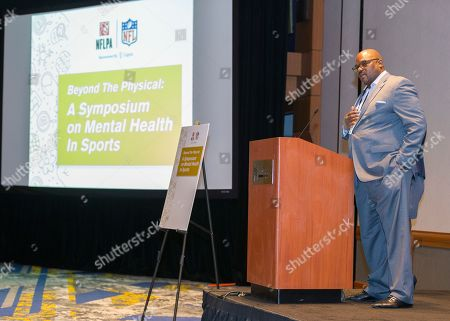 """Stock Image of Dwight Hollier from the NFL speaks at the """"Beyond the Physical: A Symposium on Mental Health in Sports"""" hosted by the NFL, NFL Players Association and Cigna at Georgia Tech Hotel and Conference Center, in Atlanta"""