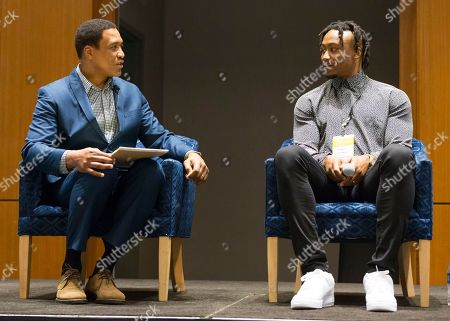 """Stock Picture of Andre Collins, Executive director of Professional Athletes Foundation speaks with NFL player Brandon Marshall, co-founder of Project 375 at the """"Beyond the Physical: A Symposium on Mental Health in Sports"""" hosted by the NFL, NFL Players Association and Cigna at Georgia Tech Hotel and Conference Center, in Atlanta"""