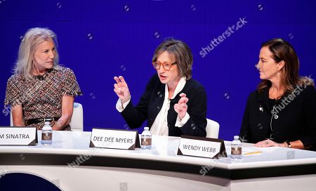 From left, Kim Sinatra, Dee Dee Myers, executive vice president at Warner Bros., and Wendy Webb, CEO of Kestrel Advisors, participate during a women's forum at the Wynn hotel and casino, in Las Vegas
