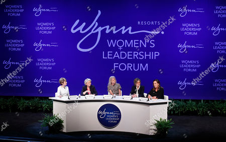 From left, Betsy Atkins, entrepreneur, Pat Mulroy, senior fellow for the Brookings Institute, Kim Sinatra, Dee Dee Myers, executive vice president at Warner Bros., and Wendy Webb, CEO of Kestrel Advisors, participate during a women's forum at the Wynn hotel and casino, in Las Vegas