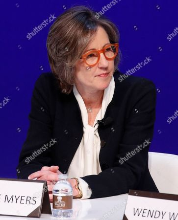 Dee Dee Myers, executive vice president at Warner Bros., participates during a women's forum at the Wynn hotel and casino, in Las Vegas