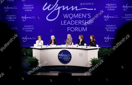 Stock Picture of From left, Betsy Atkins, entrepreneur, Pat Mulroy, senior fellow for the Brookings Institute, Kim Sinatra, Dee Dee Myers, executive vice president at Warner Bros., and Wendy Webb, CEO of Kestrel Advisors, participate during a women's forum at the Wynn hotel and casino, in Las Vegas
