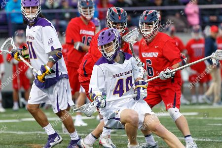 Albany, NY, U.S. - Kyle McClancy (#40) works against Jason Reynolds (#6) and the Richmond defense as UAlbany Men's Lacrosse defeats Richmond 18-9 on  at Casey Stadium in the NCAA tournament first round
