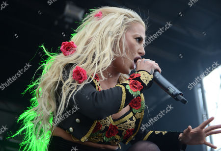 Vocalist Heidi Shepherd of the band Butcher Babies performs during the Northern Invasion Music Festival in Somerset, Wisconsin