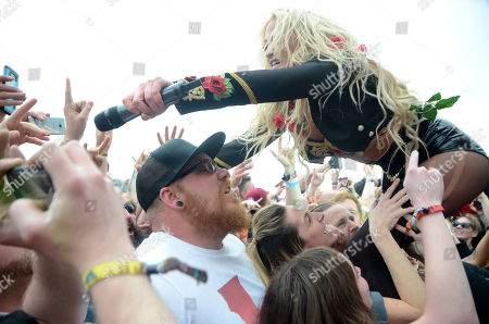 Stock Photo of Vocalist Heidi Shepherd of the band Butcher Babies performs during the Northern Invasion Music Festival in Somerset, Wisconsin