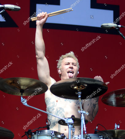 Drummer James Cassells of the band Asking Alexandria performs during the Northern Invasion Music Festival in Somerset, Wisconsin