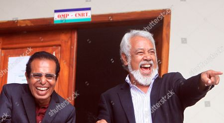 Former president and leader of the the National Congress for Timorese Reconstruction (CNRT), Xanana Gusmao (R) and the leader of the People's Liberation Party (Partidu Libertasaun Popular, PLP), Taur Matan Rua laugh as they talk to their supporters in Dili, East Timor, also known as Timor Leste, 15 May 2018. According to media reports, The Parliamentary Majority Alliance (AMP) with three political parties led by the CNRT secured a majority on the parliamentary election.