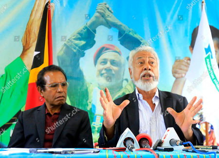 Former president and leader of the the National Congress for Timorese Reconstruction (CNRT), Xanana Gusmao (R) and the leader of the People's Liberation Party (Partidu Libertasaun Popular, PLP), Taur Matan Rua (L) speak to journalists during a press conference in Dili, East Timor, also known as Timor Leste, 15 May 2018. According to media reports, The Parliamentary Majority Alliance (AMP) with three political parties led by the CNRT secured a majority on the parliamentary election.