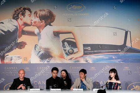 Director Ryusuke Hamaguchi, actress Erika Karata and actor Masahiro Higashide attend the press conference for 'Asako I & II (Netemo Sametemo)' during the 71st annual Cannes Film Festival, in Cannes, France, 15 May 2018. The movie is presented in the Official Competition of the festival which runs from 08 to 19 May.
