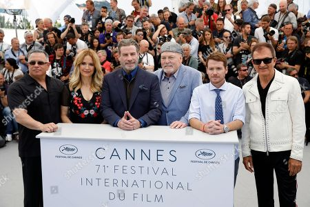 Stacy Keach, director Kevin Connolly, Edward Walson, John Travolta, Kelly Preston and Leo Rossi poses during a photocall for at the 71st annual Cannes Film Festival, in Cannes, France, 15 May 2018.