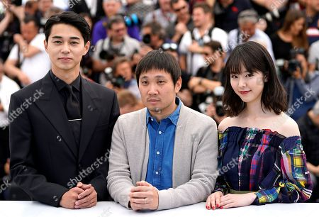 (R-L Japanse actress Erika Karata, Director Ryusuke Hamaguchi and Masahiro Higashide pose during the photocall for 'Asako I & II (Netemo Sametemo)' at the 71st annual Cannes Film Festival, in Cannes, France, 15 May 2018. The movie is presented in the Official Competition of the festival which runs from 08 to 19 May.