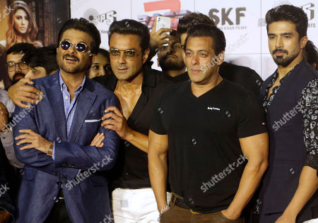 "Bollywood actors, from left, Anil Kapoor, Bobby Deol, Salman Khan and Saqib Saleem attend the trailer launch of their film ""Race 3"" in Mumbai, India"
