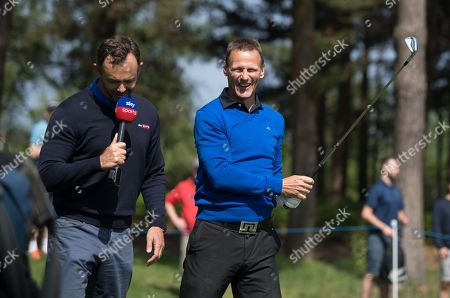 Teddy Sheringham has fun with a Sky Sports presenter at Wentworth