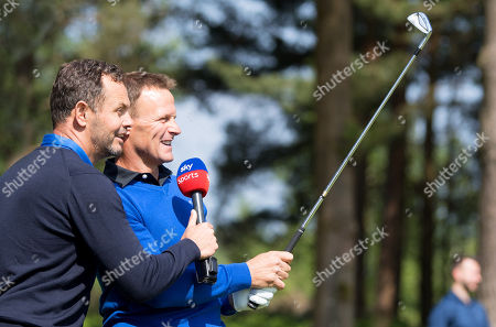 Teddy Sheringham is interviewed by a Sky during the Celebrity Pro-Am