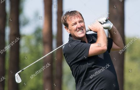 Matt Le Tissier reacts to an awkward shot during the Celebrity Pro-Am