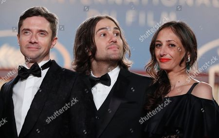 (L-R) Topher Grace, David Robert Mitchell and Adele Romanski arrive for the screening of 'Under the Silver Lake' during the 71st annual Cannes Film Festival, in Cannes, France, 15 May 2018. The movie is presented in the Official Competition of the festival which runs from 08 to 19 May.