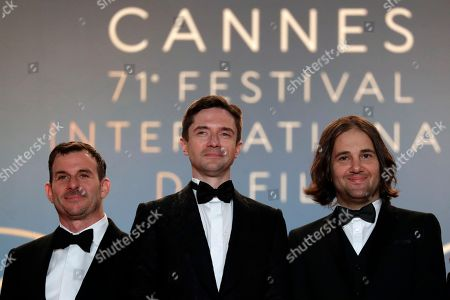 (L-R) Chris Bender, Topher Grace, David Robert Mitchell arrive for the screening of 'Under the Silver Lake' during the 71st annual Cannes Film Festival, in Cannes, France, 15 May 2018. The movie is presented in the Official Competition of the festival which runs from 08 to 19 May.