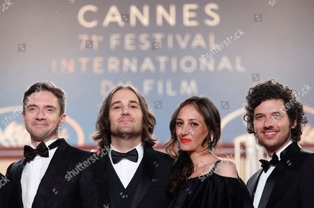 (L-R)  Topher Grace, David Robert Mitchell, Adele Romanski and Jake Weiner arrive for the screening of 'Under the Silver Lake' during the 71st annual Cannes Film Festival, in Cannes, France, 15 May 2018. The movie is presented in the Official Competition of the festival which runs from 08 to 19 May.