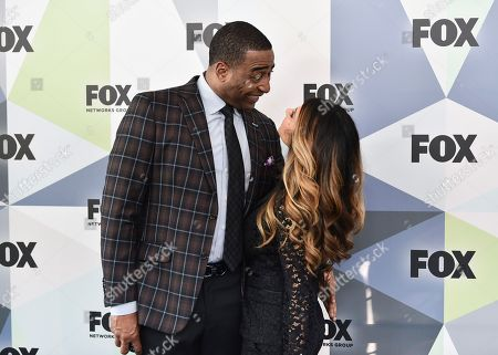 "First Things First"" co-host Cris Carter and girlfriend attend the Fox Networks Group 2018 programming presentation after party at Wollman Rink in Central Park, in New York"