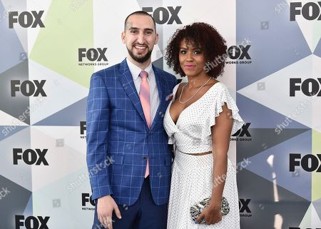 Nick Wright, Danielle Wright. Nick Wright and wife Danielle Wright attend the Fox Networks Group 2018 programming presentation after party at Wollman Rink in Central Park, in New York