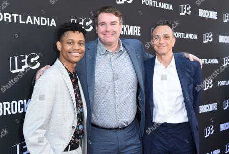 "Tyrel Jackson Williams, Joel Church Cooper, Hank Azaria. Tyrel Jackson Williams, from left, Joel Church Cooper and Hank Azaria arrive at a For Your Consideration event for ""Brockmire"" and ""Portlandia"" at the Saban Media Center, in Los Angeles"