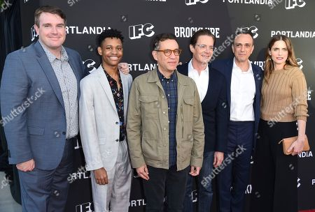 "Joel Church-Cooper, Tyrel Jackson Williams, Fred Armisen, Kyle MacLachlan, Hank Azaria, Amanda Peet. Joel Church-Cooper, from left, Tyrel Jackson Williams, Fred Armisen, Kyle MacLachlan, Hank Azaria and Amanda Peet arrive at a For Your Consideration event for ""Brockmire"" and ""Portlandia"" at the Saban Media Center, in Los Angeles"