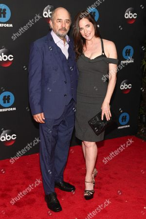 Richard Schiff, Sheila Kelley. Richard Schiff, left, and Sheila Kelley, right, attend the Disney/ABC/Freeform 2018 Upfront Party at Tavern on the Green, in New York