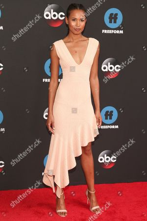 Fola Evans-Akingbola attends the Disney/ABC/Freeform 2018 Upfront Party at Tavern on the Green, in New York