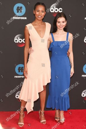 Fola Evans-Akingbola, Eline Powell. Fola Evans-Akingbola, left, and Eline Powell, right, attend the Disney/ABC/Freeform 2018 Upfront Party at Tavern on the Green, in New York