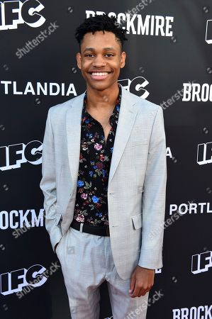 Tyrel Jackson Williams attends the IFC FYC Brockmire & Portlandia panels at Saban Media Center at the Television Academy Wolf Theatre on in North Hollywood, Calif