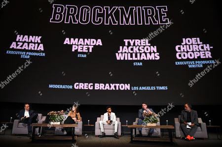 Hank Azaria, Amanda Peet, Tyrel Jackson Williams, Joel Church-Cooper, Greg Braxton. Hank Azaria, from left, Amanda Peet, Tyrel Jackson Williams, Joel Church-Cooper, and Greg Braxton attend the IFC FYC Brockmire & Portlandia panels at Saban Media Center at the Television Academy Wolf Theatre on in North Hollywood, Calif