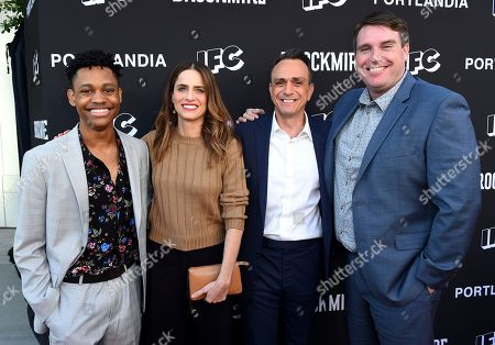 Tyrel Jackson Williams, Amanda Peet, Hank Azaria, Joel Church-Cooper. Tyrel Jackson Williams, from left, Amanda Peet, Hank Azaria, and Joel Church-Cooper attend the IFC FYC Brockmire & Portlandia panels at Saban Media Center at the Television Academy Wolf Theatre on in North Hollywood, Calif